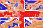 A United Kingdom, British Flag on an Old Grunge Brick Wall