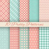Pretty pastel vector seamless patterns (tiling, with swatch)