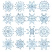 Set of sixteen snowflakes