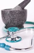 Stethoscope with Mortar and Pestle