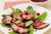 Salad with meat and cranberries