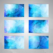 Set of cards with light blue abstract pattern