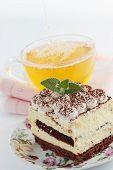 tiramisu dessert  with tea