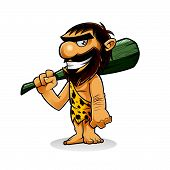 pic of caveman  - caveman is standing holding a weapon from the trunk of a tree and smiling - JPG