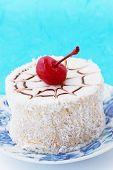 coconut dessert with cherries