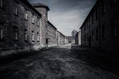 stock photo of auschwitz  - Barracks in former Nazi concentration camp Auschwitz I - JPG