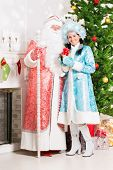 Snow Maiden And Santa Claus