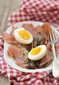 stock photo of endive  - red endive eggs and hamon warm salad - JPG