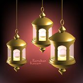 Vector 3D Muslim Oil Lamp. Translation: Ramadan Kareem - May Generosity Bless You During The Holy Mo