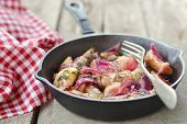 Small Sausage With Apples And Red Onion