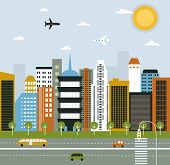 stock photo of suburban city  - Illustration of Big City life in bright colors - JPG