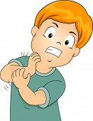 Illustration of a Little Kid Furiously Scratching His Itchy Arm