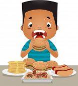 Illustration of a Little Boy Going on an Eating Binge