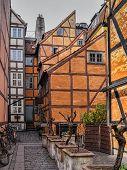 Medieval Houses In A Backyard In Copenhagen