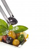 olives dish with vegetables, herbs, spices isolated on a white background