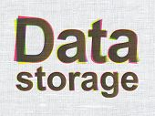 Data concept: Data Storage on fabric texture background