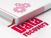 Data concept: book Gears, Data Recovery on white background