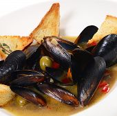 Mussels Tuscan With Crispy Ciabatta