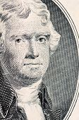 picture of two dollar bill  - The face of Jefferson the dollar bill - JPG
