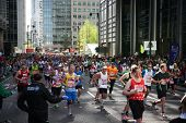 LONDON, UK - APRIL 13, 2014  - London Marathon in Canary Wharf aria, massive sport event for profess