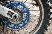Close Up Fragment Of Sport Motocross Bike Wheel