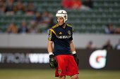 CARSON, CA - APRIL 12: Los Angeles Galaxy GK Brian Perk #1 during the MLS game between the Los Angel