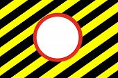 Red White Circle  On Yellow And Black  Hazard Stripes Background