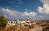 View of Plaka city, full of white houses in Milos island, Greece.