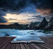 Book Concept Beautiful Landscape Of Mountains And Sea At Sunset