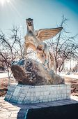 stock photo of snow-leopard  - Monument in the city in the form of snow leopards in Kazakhstan - JPG