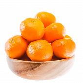 Tasty Sweet Tangerine Orange Mandarin Fruit In Wooden Bowl