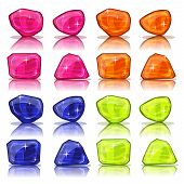 image of precious stones  - Illustration of a set of glossy and bright cartoon gems stones minerals and jewels icons for game user interface - JPG