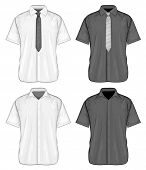 Vector illustration of short sleeve dress shirts (button-down) with and without neckties. Front view