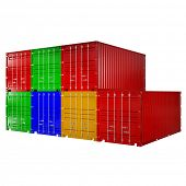 3d rendering of a shipping 40ft containers stack