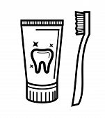 picture of toothpaste  - vector black toothbrush and toothpaste icon set - JPG