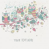 Cute owls on branch in flowers in pastel colors. Spring concept background. Bright illustration, can