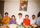 LODZ, POLAND CIRCA 1970's: Vintage photo of people enjoying a family party