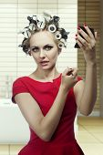 Beauty Makeup Girl With Hair Rollers