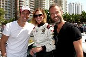 LOS ANGELES - APR 12:  Michael Trucco, Tricia Helfer, JR Bourne at the Long Beach Grand Prix Pro/Cel