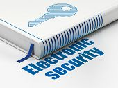 Protection concept: book Key, Electronic Security on white