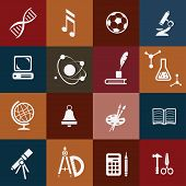 School Icons Set, Subjects Symbols