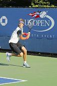 Professional tennis player Alexander Zverev from Germany during qualifying match at US Open 2014