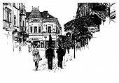 pic of zakarpattia  - digital sketch vector black and white illustration of Uzhgorod cityscape - JPG