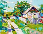 unusual original oil painting on canvas, modern impressionism, u