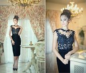Beautiful brunette lady in elegant black lace dress posing in a vintage scene. Young sensual girl