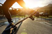 skateboarding at sunrise skatepark