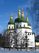 foto of deacon  - Beautiful church on a background of the blue sky in Priluky town - JPG