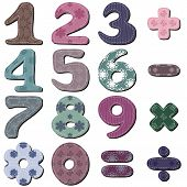 stock photo of poka dot  - scrapbook numbers and signs on white background vector - JPG
