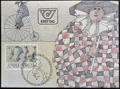 AUSTRIA - CIRCA 1985: A stamp printed in Austria represented Carnival Figures Riding High Bicycles