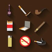 Smoking And Accessories Icons Set